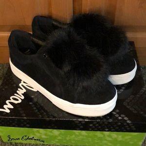 Sam Edelman Leya Black Suede Pom Pom Sneakers